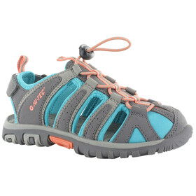Hi-Tec Cove Sandals Juniors Cool Grey/Curacao Blue/Papaya Punch